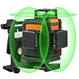 3D Green Beam Laser Level Self-leveling 3x360° Planes - 2x360° Vertical Lines & 1x360° Horizontal Line 131Ft,Magnetic Pivoting Base,Auxiliary Supporting Bracket&Carrying Bag Included - Tacklife SC-L08
