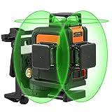Tacklife - Nivel láser de 3 x 360 mm, color verde 40 m SC-L08, línea láser autonivelada, modo...