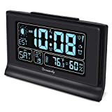 DreamSky Auto Set Alarm Clock with USB Charging Ports, 6' Large Display with Indoor Temperature & Humidity, Date/Day & Moon Phase, Brightness Dimmer, Auto DST, Backup Battery
