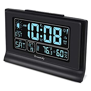 """DreamSky Auto Set Alarm Clock with USB Charging Ports, 6"""" Large Display with Indoor Temperature & Humidity, Date/Day & Moon Phase, Brightness Dimmer, Auto DST, Backup Battery"""