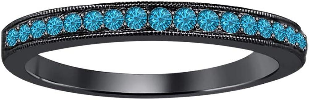 tusakha 0.35 Ctw Round Cut Gemstone 14k Black Gold Plated Anniversary Wedding Band Ring for Womens.