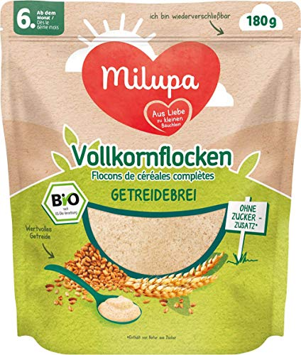 Milupa Vollkornflocken Bio Getreidebrei ab dem 6. Monat, 4er Pack (4 x 180 g) 146414