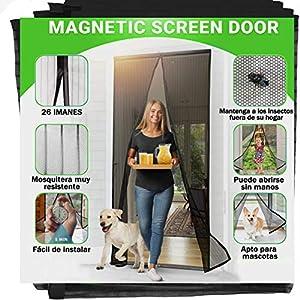 Jellas Mosquitera Magnética, 90 x 210CM Se Adapta a Puertas de hasta, Totalmente Magnética se Cierra Sola, Evita que los Insectos Entren - Para Puertas Cortina de Sala de Estar