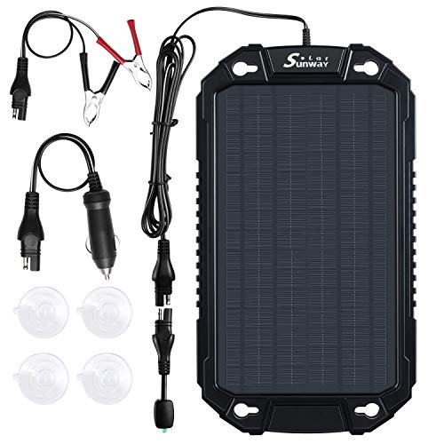 Sunway Solar Car Battery Trickle Charger & Maintainer 12Volt 8W Solar Panel Power Charger kit Portable Waterproof For Automotive RV Marine Boat Truck Motorcycle Trailer Tractor Powersports Snowmobile