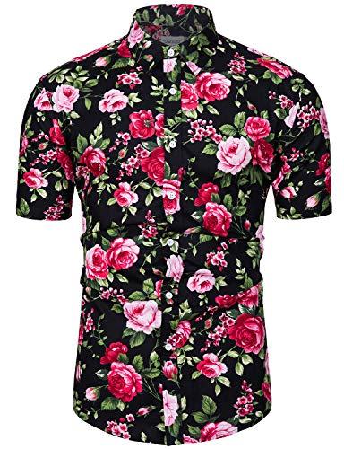 fohemr Homme Chemise Hawaienne Casual Manches Courtes à Motif Fleurs Été Rouge Large