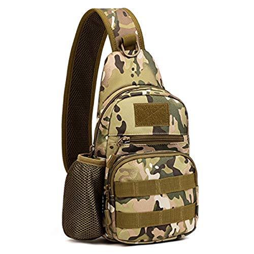 Huntvp Taktisch Brusttasche Military Schultertasche mit Wasserflasche Halter Chest Sling Pack Molle Armee Crossbody Bag Militärisch Umhängetasche für Wandern Camping - Typ-1 Grün Camouflage