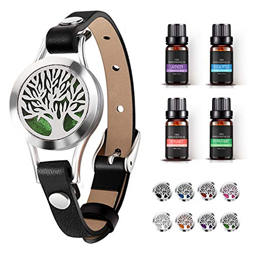 Aromatherapy Essential Oil Diffuser Bracelet Jewelry with Lavender, Peppermint, Eucalyptus, Bergamot (10ml/pcs), Best Gift for Women at Birthday and Christmas | Stainless Steel Locket Leather Band