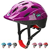 KAMUGO Kids Bike Helmets, Toddle Helmet for Ages 2-7 Boys Girls, Adjustable Multi-Sport Skating Scooter Bicycle Helmet with Cartoon Designs (Purple)