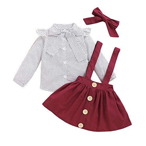 Qiraoxy Kinder Kleinkind Baby Mädchen Tupfen Bowknot Band Langarm Lotusblatt Spitze Hemd Einfarbig Riemen Kleid Bowknot Stirnband Set