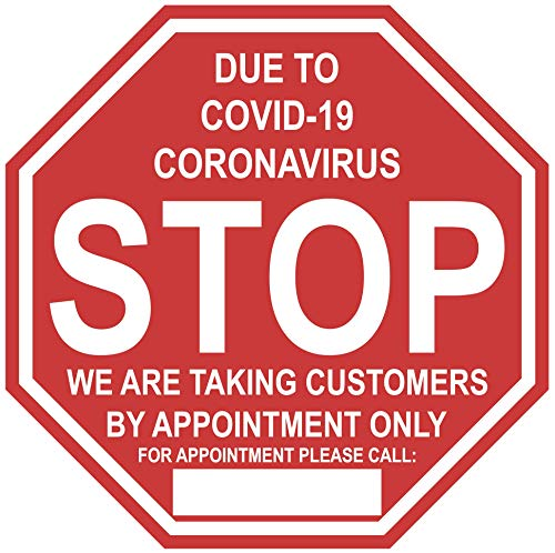 Stop Sign'by Appointment Only' COVID-19 (Coronavirus)- 14x14' Adhesive Durable Vinyl Decal, Sign by Graphical Warehouse- Safety and Security Signage, Visual Communication Tool
