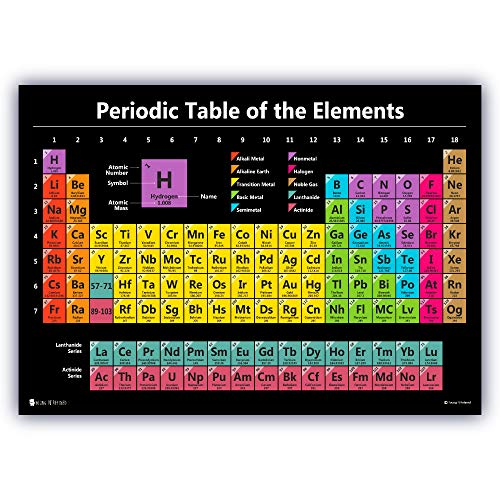 Periodic table science poster LAMINATED new 2021 chart teaching elements classroom BLACK decoration premium educators atomic number guide 15x20