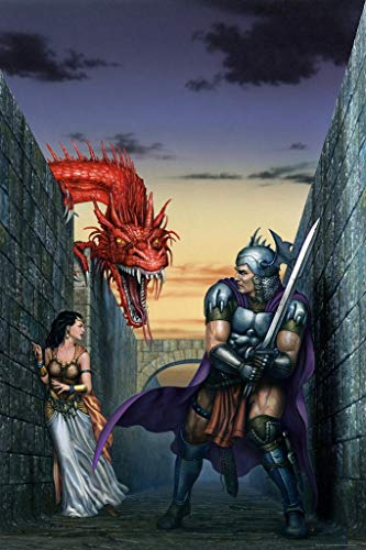 Knight in Stone Maze with Maiden Red Dragon by Ciruelo Artist Painting Fantasy Laminated Dry Erase Sign Poster 24x36