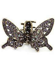 Avalaya - Pinza para el pelo con diseño de mariposa de cristal morado con alas móviles, color dorado envejecido, 85 mm de ancho