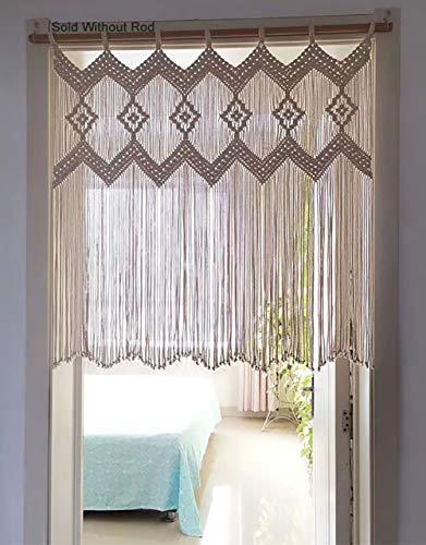 Achart Macrame Doorway Curtains Macrame Wall Hanging Window Curtain Panels Closet Room Divider Boho Wedding Decor Wedding Backdrop Wall Pediments Boho Wall Decor (Without Rod) (Ivory White)