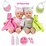 Adora Twin Baby Dolls, Later Alligator Twins Gift Set, 11 Soft Baby Dolls In Vinyl, 17Piece of Doll Accessories, Perfect Gift for Toddlers, Multi Color