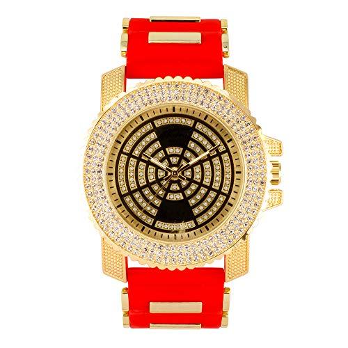 ICY Hip Hop - Reloj inspirado en el ICY para hombre con bisel tachonado de diamantes y esfera helada, correa de silicona - Movimiento de cuarzo, dorado/rojo , mens-standard