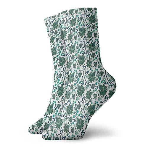 Calcetines suaves de longitud media de pantorrilla, adornos florales orientales, hojas de tallos abstractos orientales de Oriente Medio, calcetines para mujeres y hombres, los mejores para correr