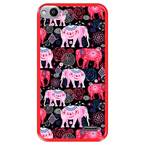 Hapdey silikon Hülle für [ Vodafone Smart Ultra 6 ] Design [ Helles Muster von rosa & roten schönen Elefanten ] Rot Flexibles TPU
