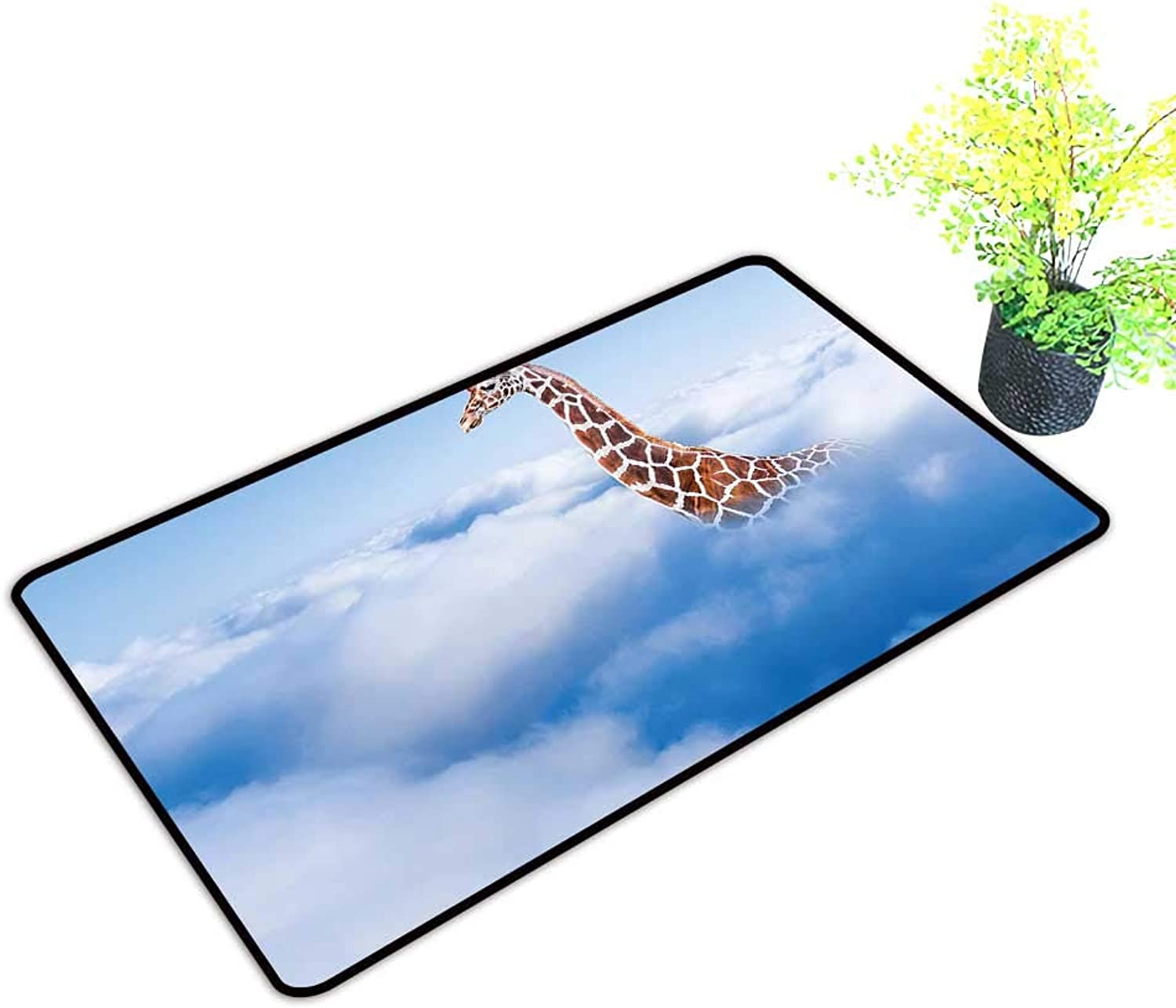 Entrance Door Mat Large Flying Giraffe in Fluffy Heaven Fantasy Animals Themed White Brown Dress Up Your Doorway W39 x H19 INCH
