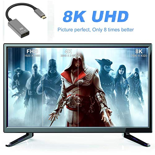 CABLEDECONN USB C to DisplayPort 1.4 8K Cable 8K@60Hz 4K@144Hz Male to Female 25CM Converter Thunderbolt 3 to DisplayPort Adapter Compatible with New MacBook Pro 2019 2020 Dell XPS