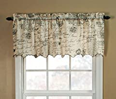 Classic script writing and postal stamps will bring old world charm with a mix of high Fashion to your decor This classic pattern and coloration marries perfectly on the light weight textured semi sheer fabric Each valance is constructed with a 1.5-I...