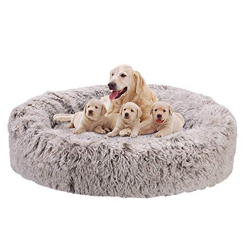 Bingopaw weich Hundebett Katzenbett rund Hundekissen: Donut Tierbtt Plüsch Hundesofa katzensofa, Flauschig Haustierbett für extra groß Hunde und Katzen, XXL: 118 x 118 x 20 cm, Grau