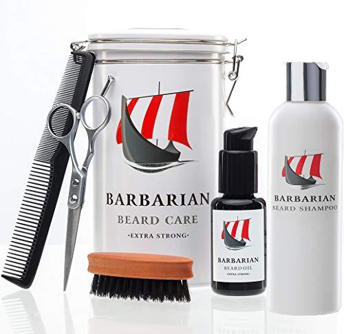 Bild des Produktes 'Hochwertiges Bartpflege Set - inklusive Mr. Burton´s Barbarian Bartöl, 50ml, 100% natürlich mit Arganöl, Bartbürste mit Wildschweinborsten, Bartschere, Kamm und Aufbewahrungsdose'
