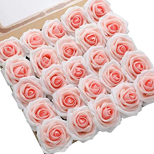 DerBlue 60pcs Artificial Roses Flowers Real Looking Fake Roses Artificial Foam Roses...