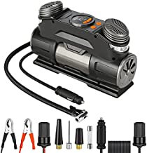 Yome Portable Car Air Compressor Pump with Digital Gauge, 12V Dual Cylinder Tire Inflator with Auto Pump and Shut Off for Vehicle and Bike Tires, Pool Toys, and Sports Equipment