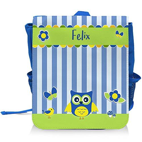 Kinder-Rucksack mit Namen Felix und schönem Eulen-Motiv für Jungen