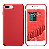 Funda iPhone 7 Plus Funda iPhone 8 Plus, SURPHY Carcasa Ultra Slim Fina Silicona Suave Case Bumper Full Protección Flexible Cover para iPhone 7 Plus iPhone 8 Plus 5.5', Rojo