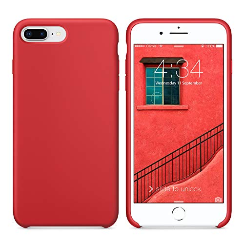 SURPHY Cover Compatibile con iPhone 8 Plus/iPhone 7 Plus, Custodia in Silicone Liquido Cover Antiurto con Fodera in Microfibra, Ultra Sottile Protettiva Case per iPhone 8/7 Plus 5.5 Pollici, Rosso