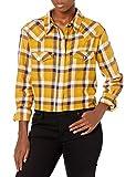 Wrangler Women's Retro Long Sleeve Western Snap Shirt, Yellow, Medium