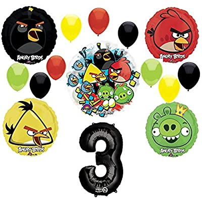 Mayflower Angry Birds 3rd Birthday Party Supplies and Group See-Thru Balloon Decorations