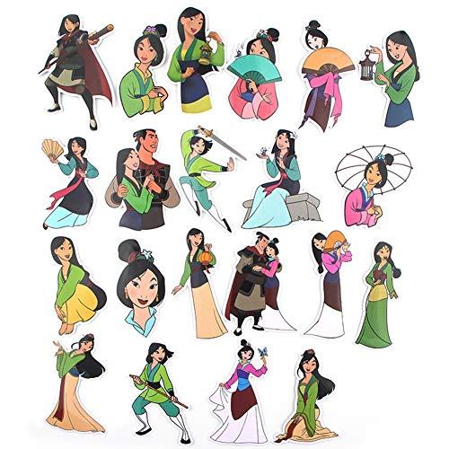Juego de 21 pegatinas para niños y adultos, diseño de Mulan