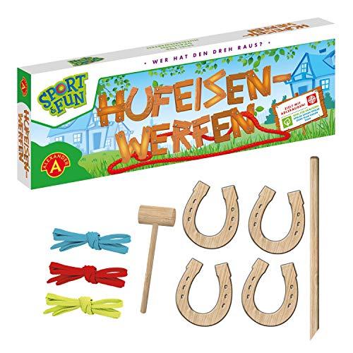 Alexander 2437 Sport & Fun werfen, Wurfspiel Set mit 4 Holz Hufeisen, Hammer und Stab, Ringwurfspiel für 2 bis 4, Outdoor Spiel für Draußen, für Erwachsene und Kinder ab 3 Jahren