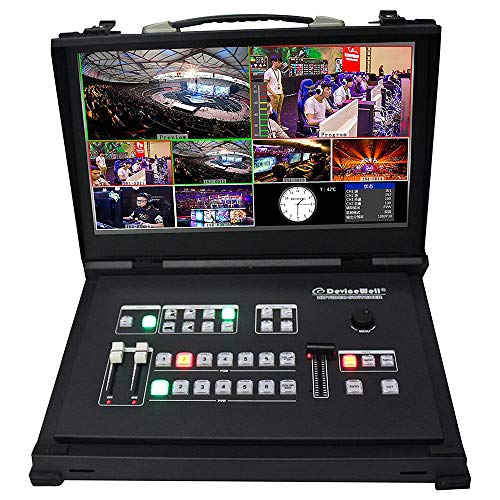 DeviceWell HDS9106 15.6 Inch 6 Channel HD Video Switcher 4-Way SDI + 2 HDMI Live Production Switcher with Monitor for New Media Broadcasts TV, Sport Events, School Courseware