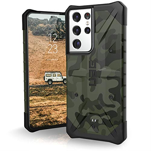 Urban Armor Gear Pathfinder Funda Protectora Samsung Galaxy S21 Ultra 5G (6,8') (Compatible Carga inalámbrica, Funda de estándar Militar, Parachoques Ultra Fino) - Forest Camo