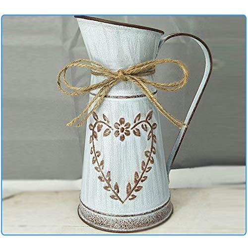 Vintage Blumenvase Herz Milchkanne Eisen Blumentopf Landhaus Vase Rustikale Shabby Chic Deko Rustikal Blumeneimer Metall Tischdeko Gartendeko