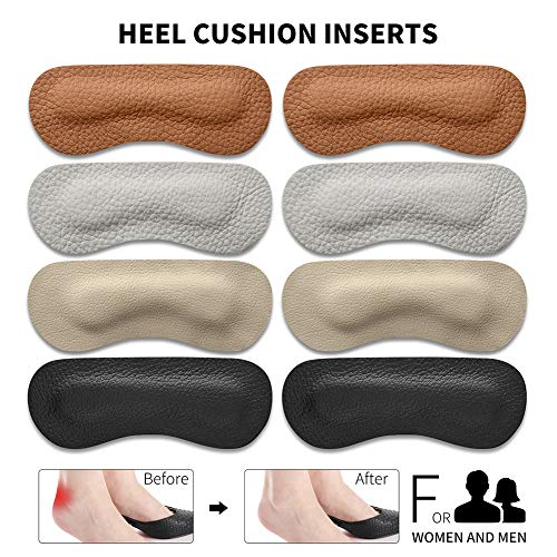 Heel Cushion Inserts - EQARD Heel Grips Pads Liner for Loose Shoes,Premium Leather Heel Protectors Anti Blisters,Shoe Inserts for Women Men (4 Pairs)