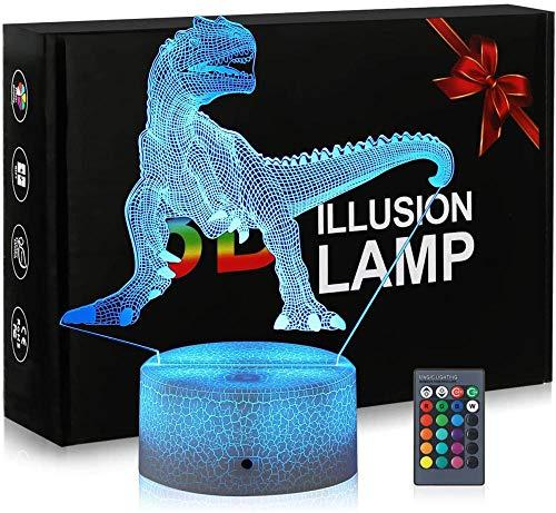 Luz nocturna 3D para niños 3D ilusión lámpara dinosaurio 16 colores y control remoto táctil – Mesita de noche iluminación regalos juguetes de niñas niños niños para cumpleaños vacaciones Navidad