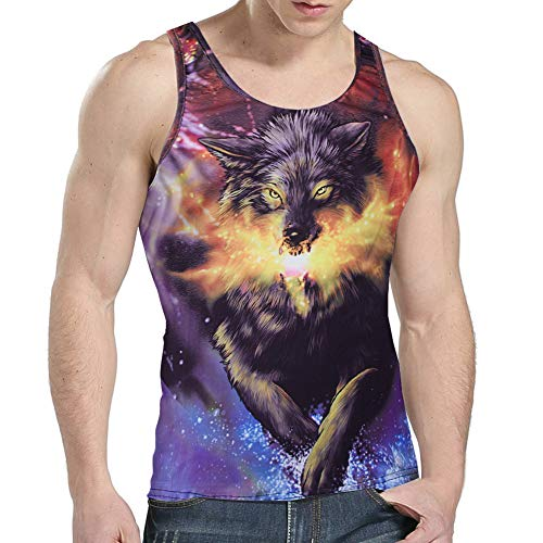 Goodstoworld Men's Sports Galaxy Wolf Tank Tops Workout Training Tanks 3D Black Animal Print Sleeveless Rave Shirts Summer Teen Boy Y Back Athletic Stringers Gym Muscle Tees Small