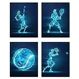 Tennis X-Ray Wall Art Decor Prints - Set of 4 (8x10) Inch Unframed Poster Photos - Bedroom