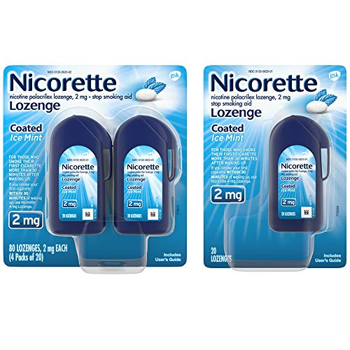 Nicorette 2mg Nicotine Lozenges to Quit Smoking - Ice Mint Flavored Stop Smoking Aid, 100 Count
