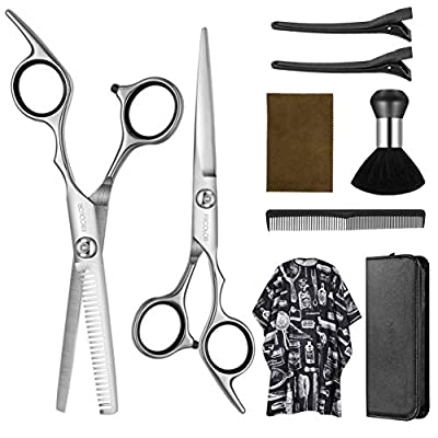 Frcolor Hairdresser Scissors Set Hair Thinning Scissors Hairdressing Shears Set with Barber Cape Hair Razor Comb, Clips, Upgraded Professional Haircut Set (Include Cape)