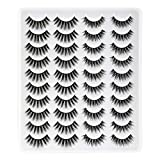 20 Pairs Eyelashes Soft 3D Faux Mink Eyelashes Natural Look Handmade Reusable Lashes Pack Lanflower