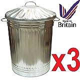 3x grande bidone pattumiera in metallo galvanizzato, bidone per rifiuti animali di archiviazione. Made in UK. Ideale per un' ampia gamma di usi diversi da rifiuti domestici per conservare il mangime Progettato per generale rifiuti domestici,, erbacc...