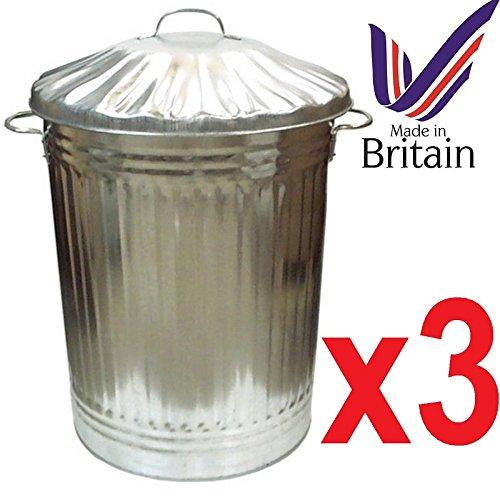 Metalleimer/Mülleimer aus verzinktem metall, vielseitig verwendbar, hohes Fassungsvermögen (90 l), 3 Stück Hergestellt in Großbritannien.