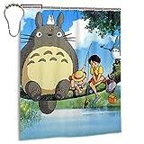 Totoro Wasserdichter Duschvorhang Badezimmer Trennwand Vorhang Tür Wasserdicht Design & Polyesterfaser Schnell Trocknend Eisen
