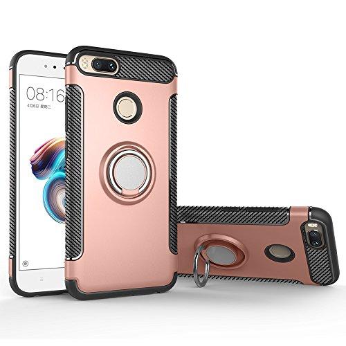 BLUGUL Funda Xiaomi Mi A1 /Funda Xiaomi Mi 5X, Soporte Giratorio del Anillo de 360 Grados, Compatible con Soporte Coche Magnético, Case Cover para Xiaomi A1/5X Oro Rosa